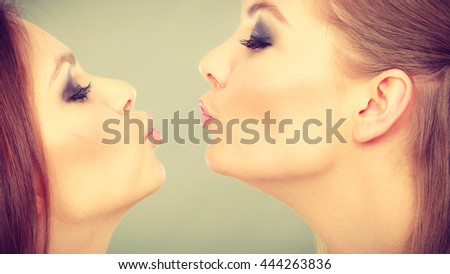 Sisterhood and siblings love. Pretty lovely charming girls together. Two positive glamorous women sisters portrait. - stock photo