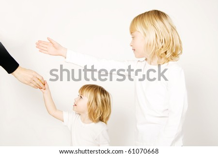 Sisters asking for help - stock photo