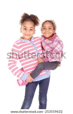 sisters isolated in white background
