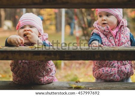 Sisters play with autumn leaves - stock photo