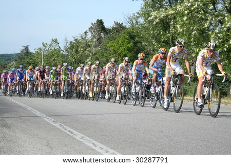 SISTIANA, ITALY - MAY 10 : Cyclists from main group at the second stage (Jesolo Trieste) in the Tour of Italy May 10, 2009 in Sistiana, Italy.