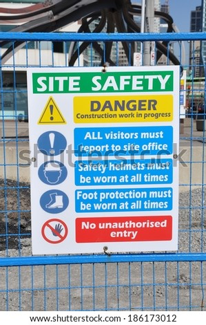 Site safety sign - stock photo