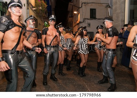 SITGES, SPAIN - MARCH 2, 2014: Sitges Carnival's Carnestoltes, a moment of the 'Disbauxa'� Parade celebrated on March 02, 2014 in Sitges, Spain.