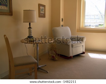 sitting area in model apartment - stock photo