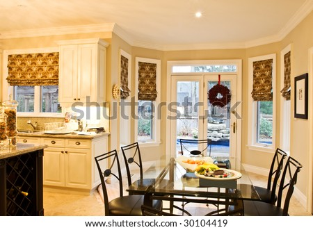 Sitting area of a model home kitchen - stock photo