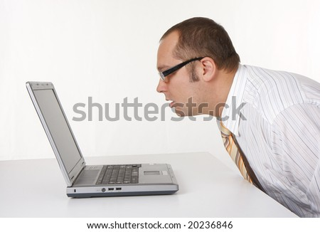 sitting businessman  using laptop