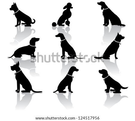 Sitting Dog Silhouettes - stock photo
