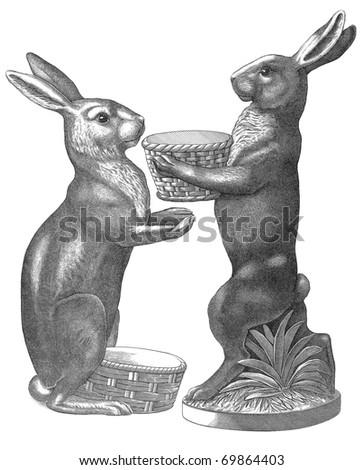 Sitting Easter Rabbit Sketch - stock photo