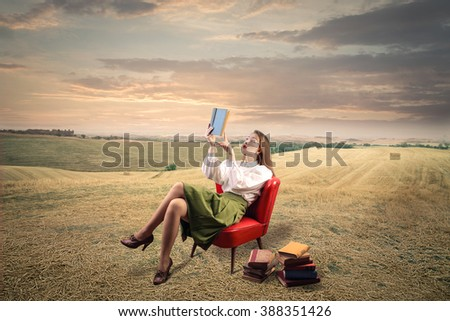 Sitting in the countryside - stock photo