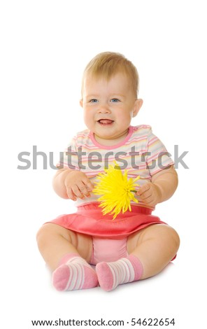 Sitting small baby with yellow flower #6 isolated