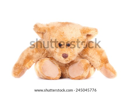 Sitting teddy bear, leaning forward. Isolated on white. - stock photo