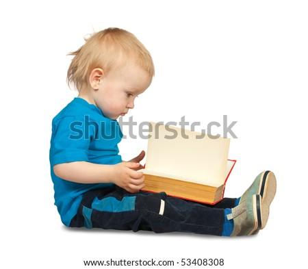 Sitting two-year boy in  blue shirt with book, isolated on white - stock photo