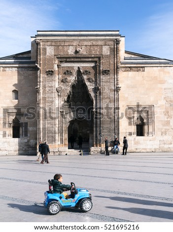 SIVAS, TURKEY - NOVEMBER 13, 2016:The historic Buruciye Madrasah in the town square of Sivas. it is a touristic place and a cafe