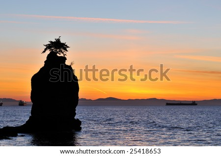 Siwash rock at sunset, Stanley park, Vancouver