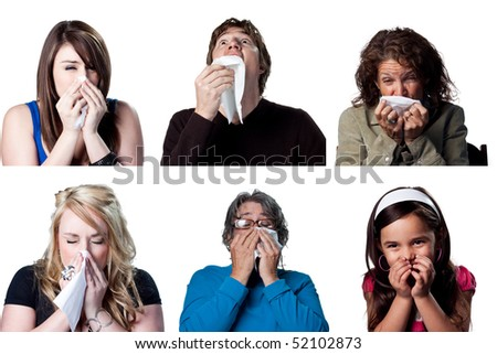 Six actors sneezing due to a cold - stock photo
