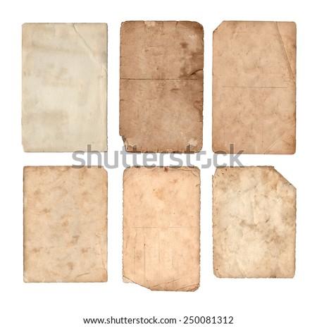Six aged paper - stock photo