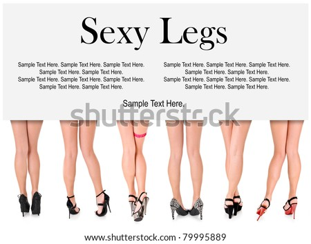 Six Beautiful Sexy Long Women's Legs in Heels with Space for Text Above - stock photo