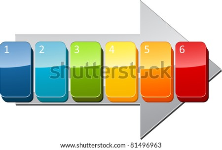 Six blank numbered sequential steps business diagram illustration - stock photo