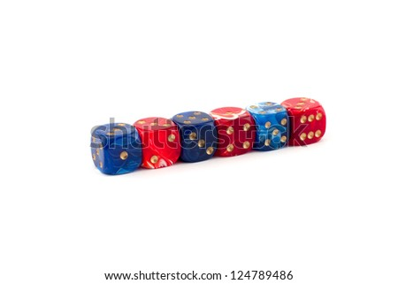 six blue and red dices isolated on white - stock photo