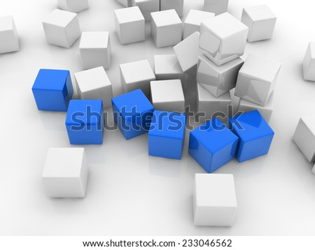 six blue cubes placed observably in a group of white cubes. - stock photo
