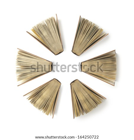 six books open, view from above,  - stock photo