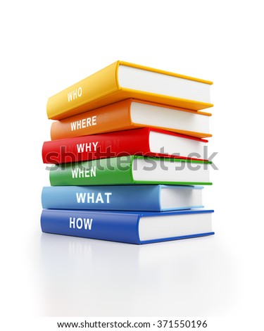 Six books stacked  on top of each other. The books have yellow, red, blue and green covers with white text along the spines. isolated on white background. Clipping path is included. - stock photo