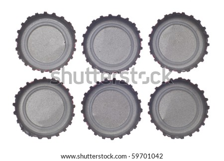 Six Bottlecap's Viewed from Above Isolated on White with a Clipping Path. - stock photo