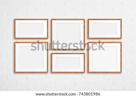 six colored photo frames set orange wood design on white bricks wall interior decor - White Picture Frame Set