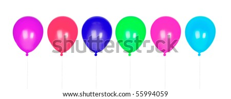 Six colorful balloons inflated isolated on white background - stock photo