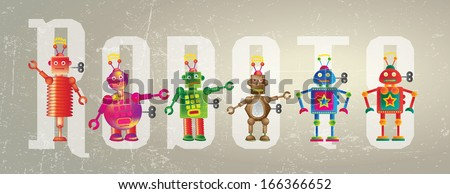 Six colorful robots set on a grunge style background set against the word Robot. - stock photo