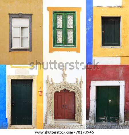 Six colorful windows and doors in  portugal. A collection of traditional and old portuguese urban walls - stock photo
