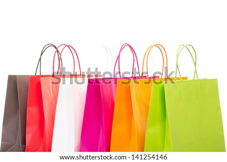 Six colourful shopping bags on white background - stock photo