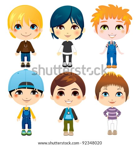 Six cute little boys from diverse ethnic groups with different clothing styles