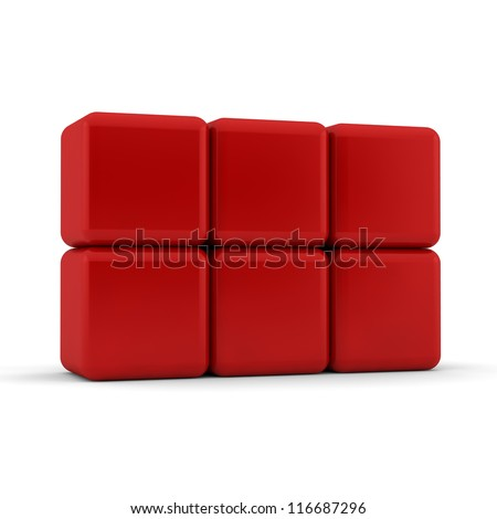 Six 3d simple red cubes with blank faces and equilateral sides that are bevelled , rounded and shaped stacked one on top of the other in a 2x3 formation on a white background - stock photo