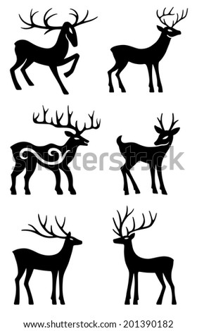 Six deer set silhouettes isolated on white background - stock photo