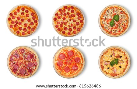 Six different pizza set for menu:.1)pepperoni 2)pepperoni cut 3)pizza with seafood 4)Classic Pizza 5)salami. 6)Pizza Hawaii