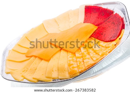 Six different types of cheese on a plate foil - stock photo