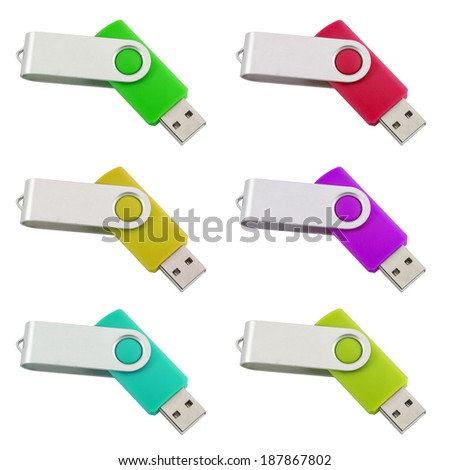 Six differently colored USB-Sticks isolated on white - stock photo