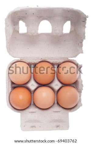 six eggs in a carton box isolated on white background - stock photo