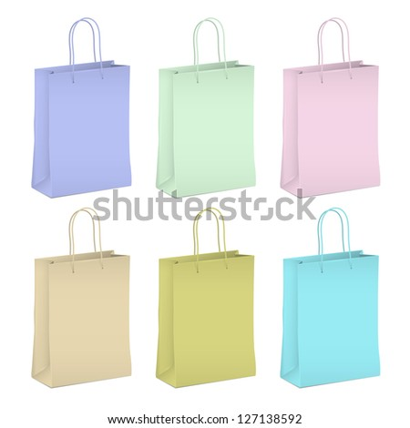 Six empty shopping paper bags in pastel colors. Raster version