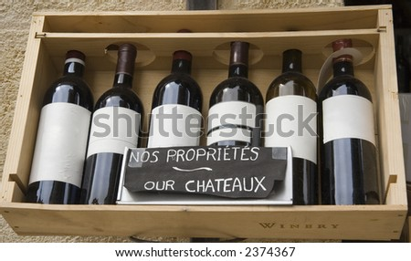 six famous wines in a row - saint-emilion, france - stock photo