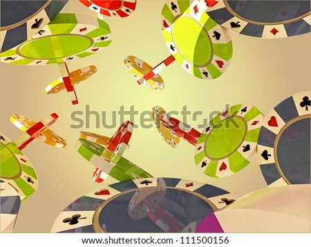 six flying columns of blue, black, purple, red, yellow, green poker chips on light orange background with shade - stock photo