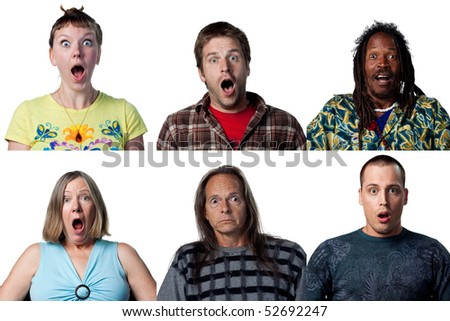 Six full size images of surprised people - stock photo