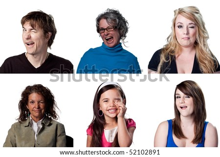 Six full size images of winking actors - stock photo