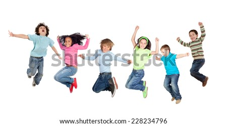 Six funny children jumping isolated on a white background - stock photo