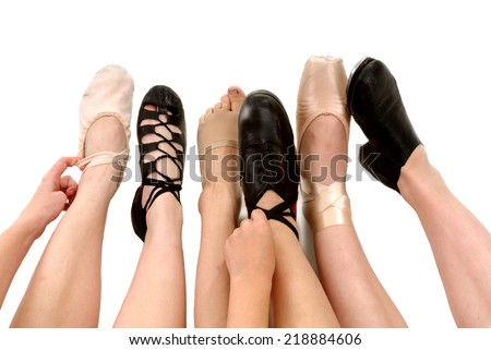 Six Genres of Adult Dance Styles in Shoes with legs and feet Ballet, Irish Ghillies, Lyrical, Clog Hard Shoes, Pointe and Tap - stock photo