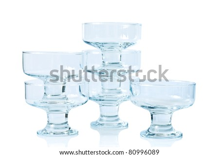 Six glass ice-cream bowl, isolated on white background