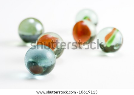 Six glass marbles - stock photo