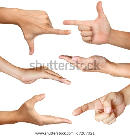 six hands action isolated with clipping path - stock photo