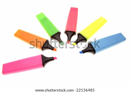 Six highlighters on white background